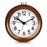 Wuudi Mignon Réveil Classique Silencieux Alarme Horloge de Chevet en Bois de Hêtre...