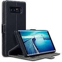 Samsung Note 8 Hülle, Terrapin Leder Tasche Case Hülle im Bookstyle mit Standfunktion Kartenfächer für Samsung Galaxy Note 8 Tasche - Schwarz