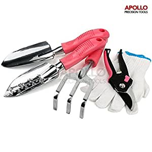 Apollo 5 Piece Pink Garden Tool Kit with Pruning Shears, Hand Trowel, Narrow Trowel, Hand Rake & Work Gloves. Cast-Aluminium Alloy Trowel & Rake Heads Never Rust Giving Lasting Value - Great Gift Idea