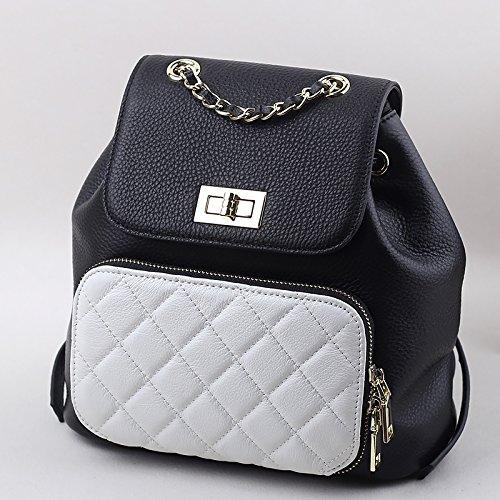 Sprnb borsa tracolla in pelle, strato femmina pelle,,Multifunzione in bianco e nero Black and white