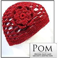 Crochet Beanie Berretto: Rosso/Argento Op con fiore corpetto