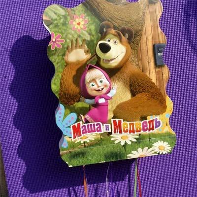masha Y El Oso Fiesta De Cumpleaños Decoración Kids Party Supplies Plato Bandera Bandera Manteles Para 10 Personas, Piñata 1Pcs