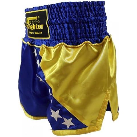 4Fighter Muay Thai Shorts nazionale Bosnia nel disegno della bandiera nazionale, Taille:XS - Muay Thai Kickbox Shorts