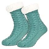 Tobeni 1 Paar Damen Homeshoe ABS Socken Kuschelsocken mit Anti-Rutsch Noppen Sohle Farbe Mint-Grün Grösse One Size