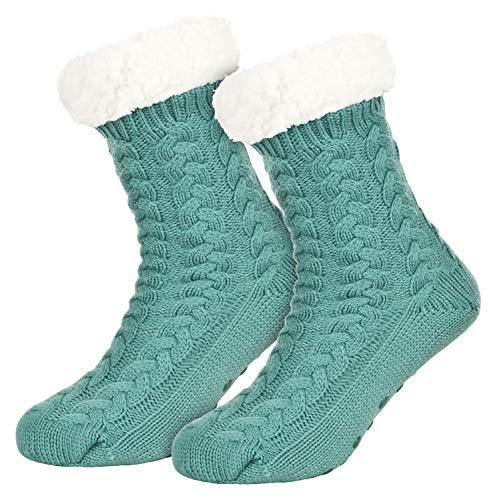 Piarini 1 Paar Kuschelsocken mit ABS Sohle - warme Damen Socken - Wintersocken mit Anti Rutsch Noppen - dicke Haussocken mint grün