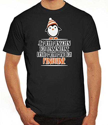 Pinguin Tierfreund Herren T-Shirt mit Menschen - Pinguine Motiv von ShirtStreet Schwarz