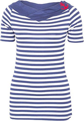 Küstenluder Damen Oberteil Larea Sailor Streifen Anker Shirt Blau S