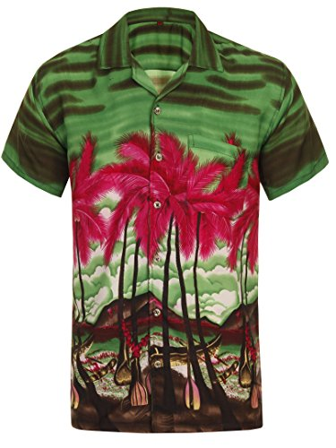 Hawaiian-Shirt-Mens-Loud-Aloha-Hawaii-Holiday-Fancy-Dress-Beach-Stag-Palm-Tree-Red-Top-Cool-BBQ-Beer-Summer-Party-Caribbean-Short-Sleeve-Green-S-M-L-XL-XXL