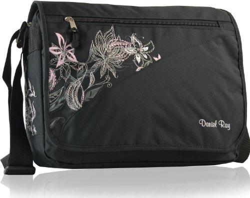 DANIEL RAY Umhängetasche FLOWER Schultertasche Laptop Tasche Schwarz