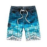 WDDGPZDK Pantaloncini Da Spiaggia/Scheda Mens Shorts Estate Plaid Design Quick Dry Uomini Casual Board Shorts M-3Xl 65,Blu,Taglia XXL