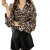 OHQ Übergröße Damen Strickjacke Winter Mode Frauen Langarm Leopard Print Mantel Bluse T-Shirt Tank Tops (Gelb, XXXXL)