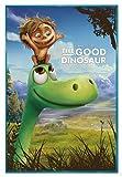 Close Up The Good Dinosaur Poster (Disney Pixar) Arlo & Spot (94x63,5 cm) gerahmt in: Rahmen türkis
