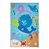 Flair Rugs Teppich Matrix Kiddy, unter dem Meer Kinder Teppich, blau, 100x 160cm