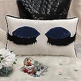 #7: The Purple Tree Cute Sequin Eyelashes Pillow Cushion (12x18 inches) - 1pc (Blue) , eyelashes cushion, girly cushion, gift for girls , Sequin Eyelash Cushion