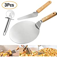 Gifort 3 in 1 Pizza Baking Set,Ovensafe Stainless Pizza Peels,Wood Handle Pizza Pie Server,Premium Pizza Cutter wheels.