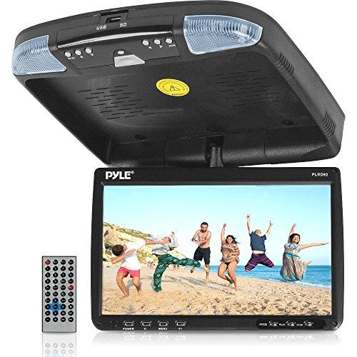 Pyle Flip Down Deckenmonitor, Multimedia-Disc-Player 22,86 cm (9 Zoll) mit drahtloser FM Modulator/IR Transmitter (Movie-cars Dvd)