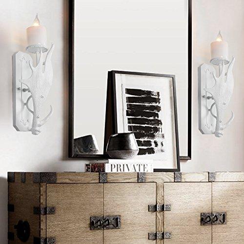 BOOTU LED Wandleuchte nach oben und unten Wandleuchten Geweih wand Lampen weiß Schlafzimmer Möbel Bett Retro Cafe Restaurant Schlafzimmer Wandleuchten, einem Kopf - Geweih-bad Möbel