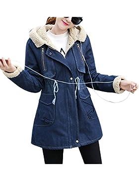 Chaqueta De Mezclilla Invierno Cálido Grueso Con Capucha Parka Abrigo Vaquera Para Mujer Azul S