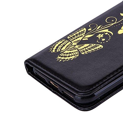 CaseHome Etui iPhone 7 4.7 Inch PU-Leder Etui Hülle Metall-Effekt Golden Gedruckt Muster Buch Entwurf (Mit freiem HD Schirm-Schutz) Folio Magnetischer Flip Abnehmbar mit Karten-Slot-Halter und Tragesc Schwarz