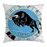 Coussinets Sac Taurus Couvre-lit Taie d'oreiller Housse de coussin, zodiaque Calendrier avec à l'intérieur de taureau céleste Créature personnage ésotérique d'impression, avec accents décoratifs carrés Taie d'oreiller, 45,7x 45,7cm, Bleu clair Noir 45cm