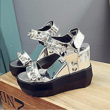 LvYuan Damen-Sandalen-Kleid Lässig-PU-Flacher Absatz Keilabsatz Creepers-Komfort-Schwarz Weiß Silber sliver