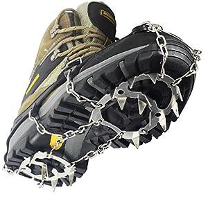 YUEDGE 18 dientes garras acero inoxidable cadena crampones antideslizante zapatos Cover esquí al aire libre hielo nieve senderismo escalada tacos de tracción Ice Grippers, color negro 4