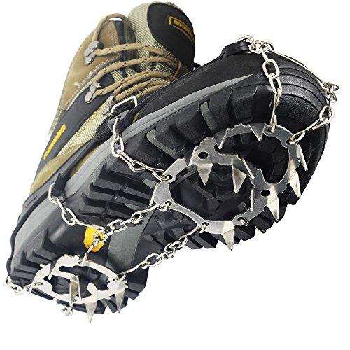 YUEDGE 18 dientes garras acero inoxidable cadena crampones antideslizante zapatos Cover esquí al aire libre hielo nieve senderismo escalada tacos de tracción Ice Grippers, color negro