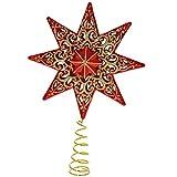 WeRChristmas - Estrella para árbol de Navidad (21 cm, plástico resistente), con purpurina, color rojo