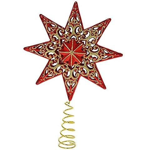 WeRChristmas Weihnachtsbaum-Stern, 21 cm, bruchsicherer Kunststoff, Glitzer-Effekt, Rot