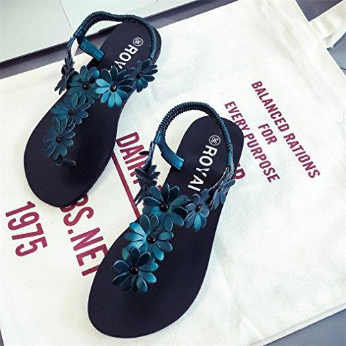 Vovotrade Frauen flache Schuhe Perlenböhmen Freizeit Sandalen Peep Toe Flip Flops Schuhe Grün