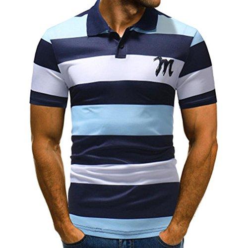 Denim Long Sleeve Work Shirt (Frashing Herren Kurzarm Top Gestreiftes Polo-Shirt Slim Fit Kontrast Polohemd Poloshirt Polo Herren Shirt Polo Kurzarmshirt Polohemden Herren Freizeithemd Work Shirt Short Sleeved)