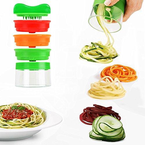 Spiralschneider, MBLAI 3-flächiger Gemüse-Spiralschneider zum Herstellen von endlosen Spaghetti-Nudeln, Gemüseschneider schäler und Shredder