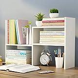 Book shelf LVZAIXI Bücherregal Creative Tabelle Kleine Bücherregal skalierbare Desktop Regale einfache Holz Regale Kleine Office Storage (Farbe : Weiß)