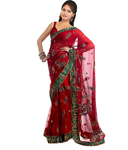 Sarees (Welcome Fashion Women\'s Clothing Net + Georgette Embriodery Work Red Color Bollywood Style Designer Wear Low Price Sale Offer buy online in Net Georgette Material New Red Color Printed Free S