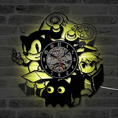 PPOCEK Vinyl Uhr LedWanduhr Kreative Und Decor Clock Geschenk Für Kinder 3D Record Clock Cartoon Hohl Sonic Spiel Vinyl Record Hanging Led