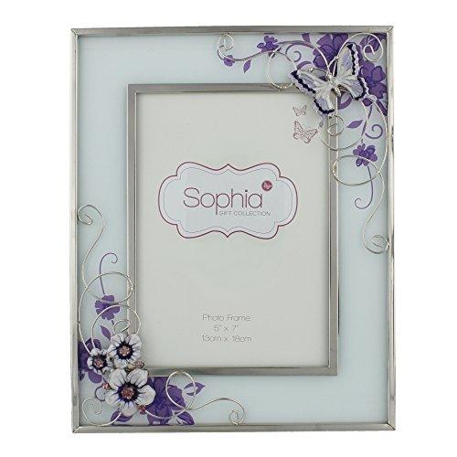 Oaktree Gifts Bilderrahmen lila Schmetterling blumen und Diamant Glas 5x 7 (Bilderrahmen Blume)
