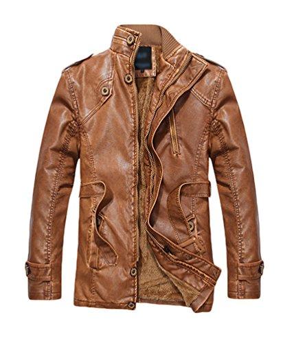 YOUJIA Manteau Veste PU en Cuir Homme Moto Blouson Imitation Cuir Jacket Stand Collar Simili Cuir Vintage Chaud Hiver Ceinture Bronzer