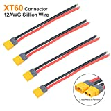 Tamlltide Amass 4pcs XT60 Plug Male Connector with Sheath Housing with 150mm 12AWG Silicon Wire for RC Lipo Battery FPV Racing Drone from Tamlltide
