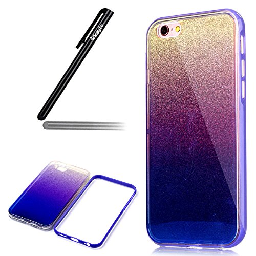 Ukayfe Custodia Morbido per iPhone 6/6S plus,2 in 1 Ultra Slim Casa per iPhone 6/6S plus Cover in Gel TPU Silicone Case Morbida Soft Trasparente e Cristallo Protettiva Custodia Brillantini Resistente  Glitter Porpora
