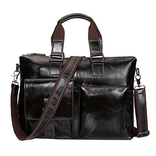 M Yy.f Ölwachs Ledertasche Leder Herren-Handtasche Erste Schicht Aus Leder Business Aktentasche Umhängetasche Solides Paket Black