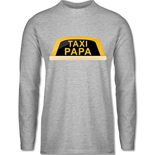 Vatertag - Taxi Papa - Longsleeve / langärmeliges T-Shirt für Herren Grau Meliert