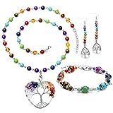 Top Plaza 7 Chakra Healing Crystals Natural Gemstone Beads Yoga Meditation Balancing Necklace