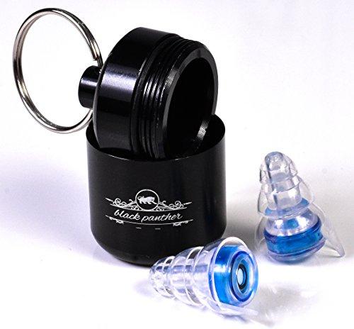 Premium Ohr-Stöpsel - SNR 21 - black panther - Ohren-Stöpsel für Arbeiten | Musik | Konzerte | Club | Flugzeug | Motorrad | Kinder - aus Silikon - Gehör-Schutz mit Zufriedenheitsgarantie