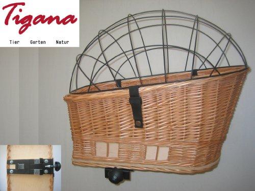Tigana Hundefahrradkorb für den Gepäckträger aus Weide 60 x 39 cm - 4
