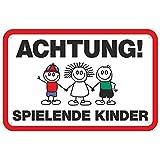 """Schild """"Achtung / Vorsicht spielende Kinder 2"""" aus Aluminium-Verbundmaterial 3mm stark 20 x 30 cm"""
