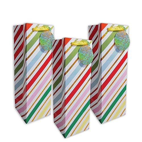 JILLSON Roberts 120Zählen Bulk Weihnachten Wein und Flasche Geschenk Taschen, Glitzer Streifen