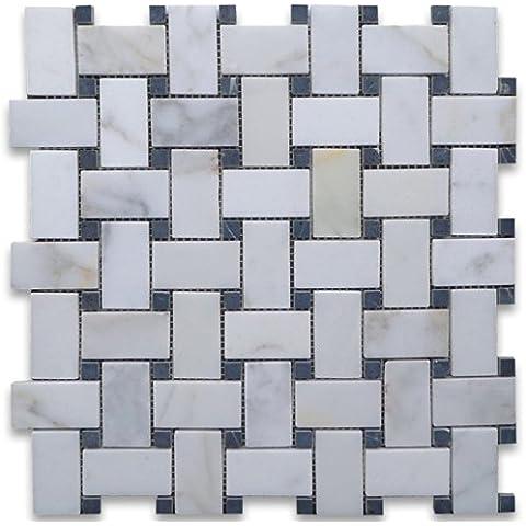 Oro italiano Calacatta Calcutta marmo Basketweave mosaico, motivo: pois, colore: