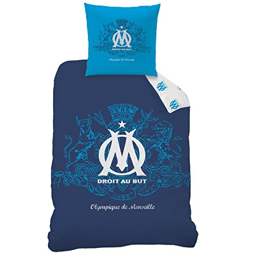 CTI Parure Om Blason 140X200+63X63, Polyester Coton, Bleu, 200 x 140 cm