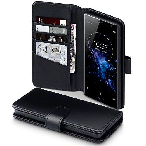 Terrapin, Kompatibel mit Sony Xperia XZ2 Hülle, [ECHT LEDER] Brieftasche Case Tasche mit Standfunktion Kartenfächer und Bargeld - Schwarz