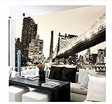 Murale Photo Papier Peint New York Noir Blanc Vue Sur La Ville Pont Salon Étude Maison Décoration Murale Non-Tissé Mural Papier Peint-200X140Cm...